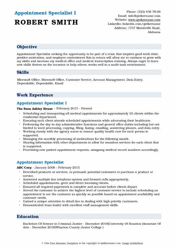 Appointment Specialist I Resume Sample