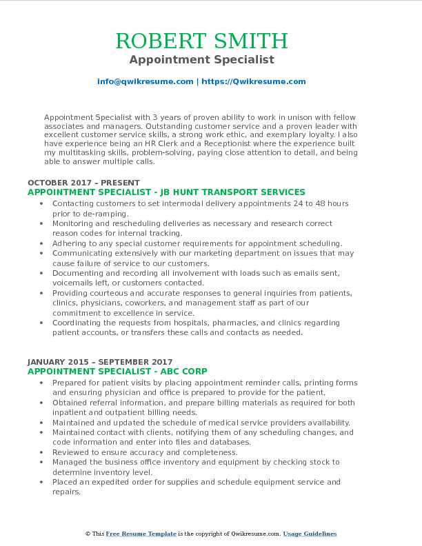 Appointment Specialist Resume Example