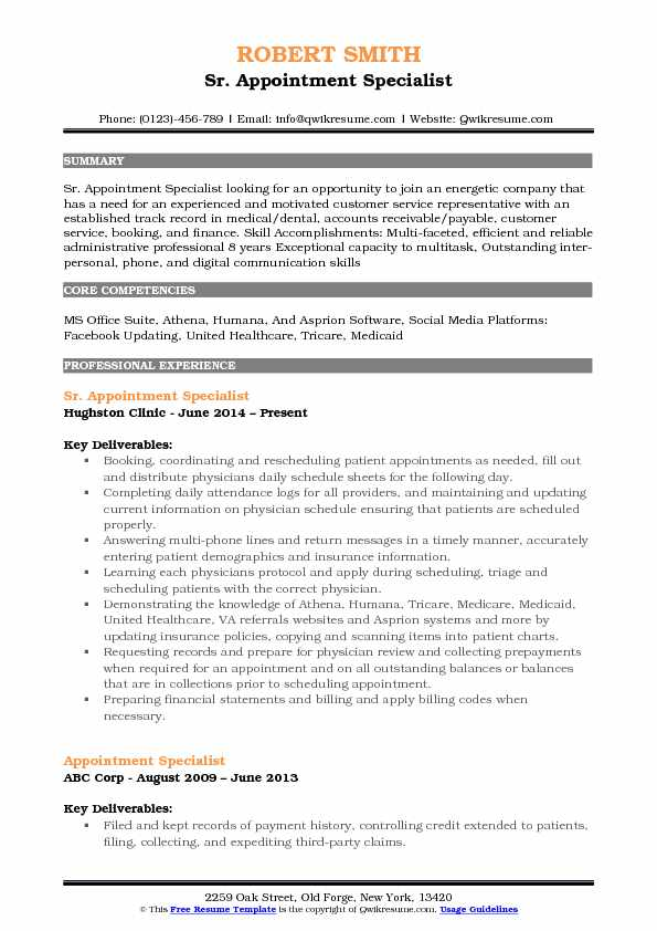 Sr. Appointment Specialist Resume Template