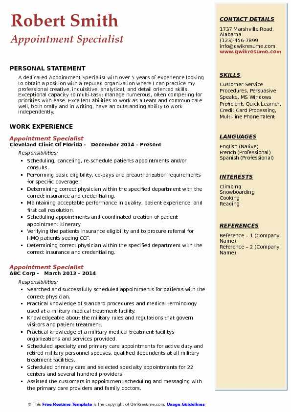 Appointment Specialist Resume Model