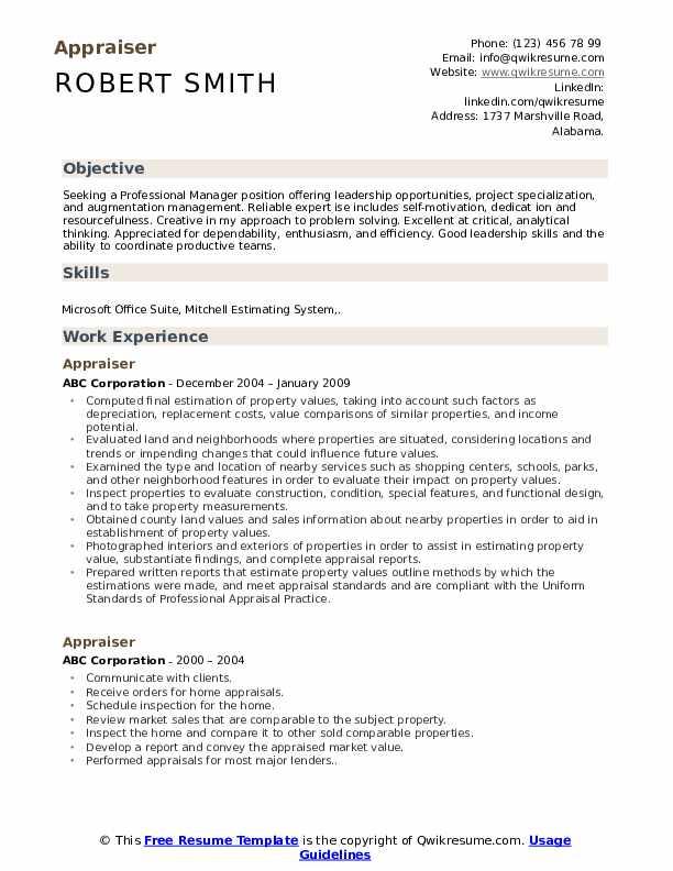 appraiser resume samples