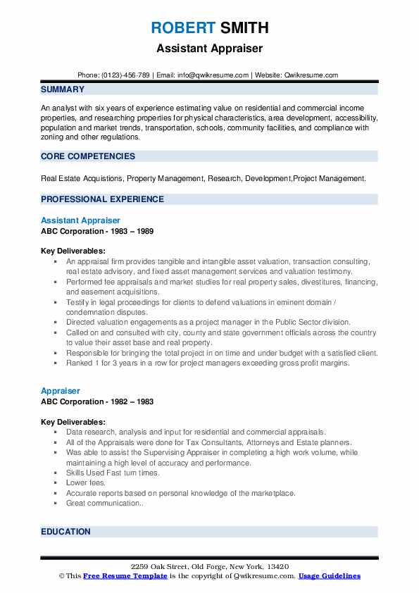 Assistant Appraiser Resume Example