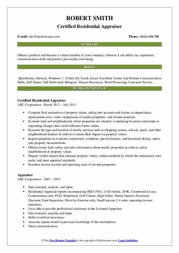 Appraiser Resume Samples | QwikResume