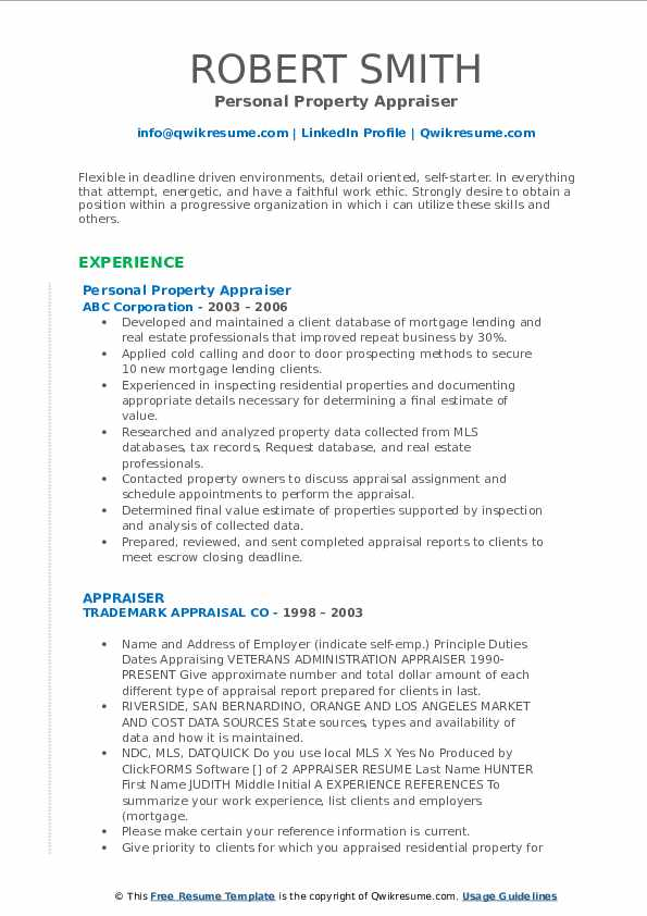 Personal Property Appraiser Resume Sample