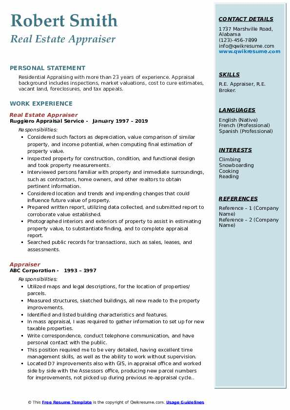 Appraiser Resume Samples Qwikresume