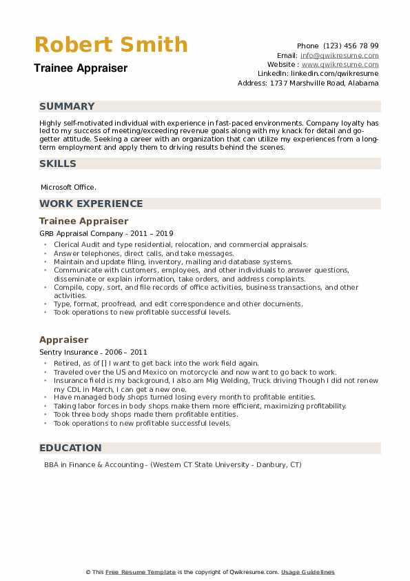 Trainee Appraiser Resume Template