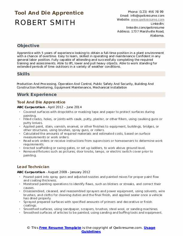 Tool And Die Apprentice Resume Model