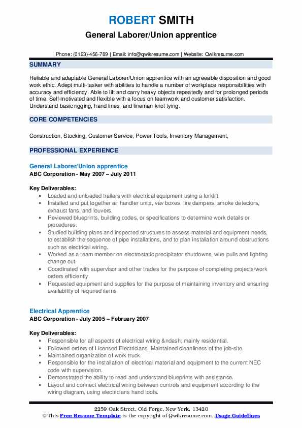 General Laborer/Union apprentice Resume Format