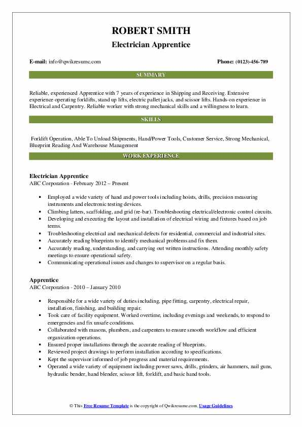 Electrician Apprentice Resume Sample