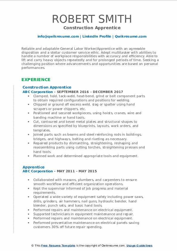 Construction Apprentice Resume Example