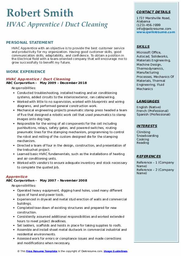 HVAC Apprentice / Duct Cleaning Resume Example
