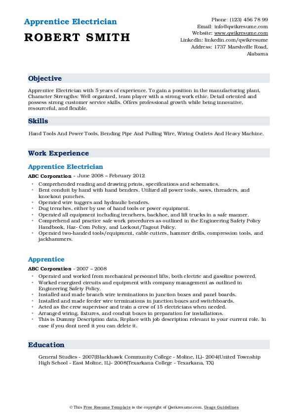 Apprentice Electrician Resume Example