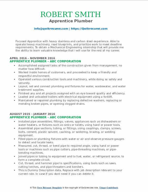 Apprentice Plumber Resume Model