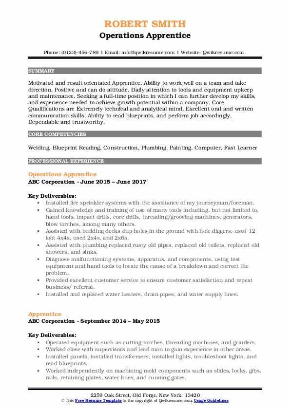 Operations Apprentice Resume Model