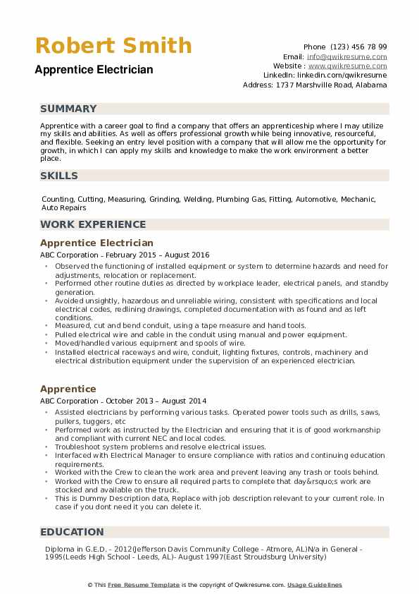 Apprentice Resume example