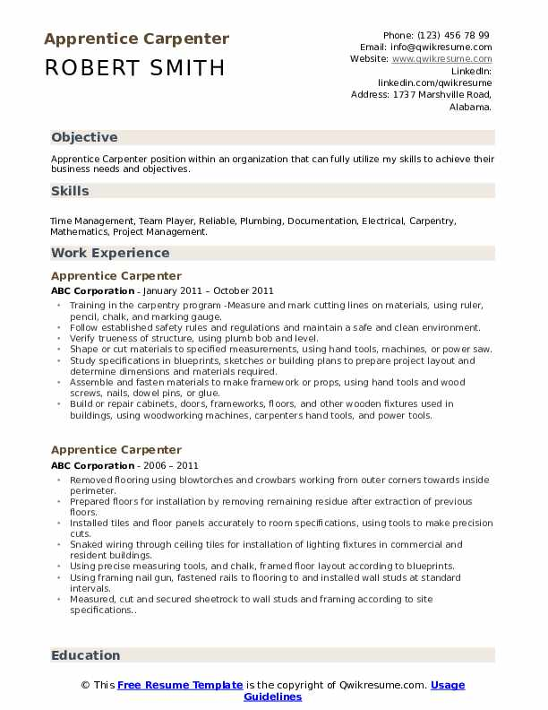 Apprentice Carpenter Resume Template