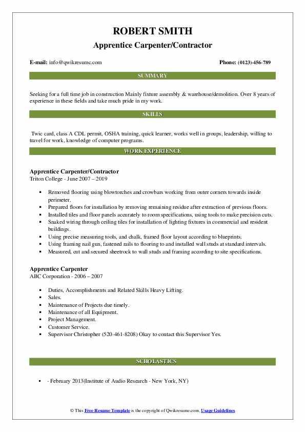 Apprentice Carpenter/Contractor Resume Example