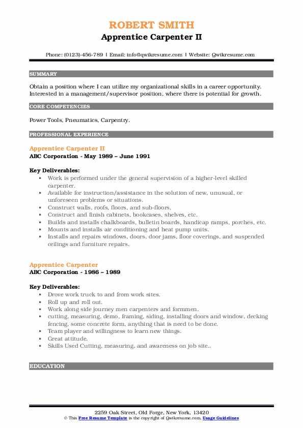 Apprentice Carpenter II Resume Example