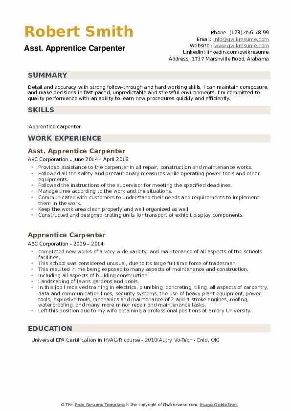 Asst. Apprentice Carpenter Resume Model