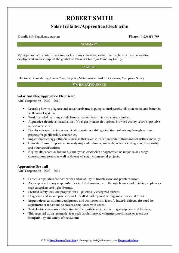 Solar Installer/Apprentice Electrician Resume Sample