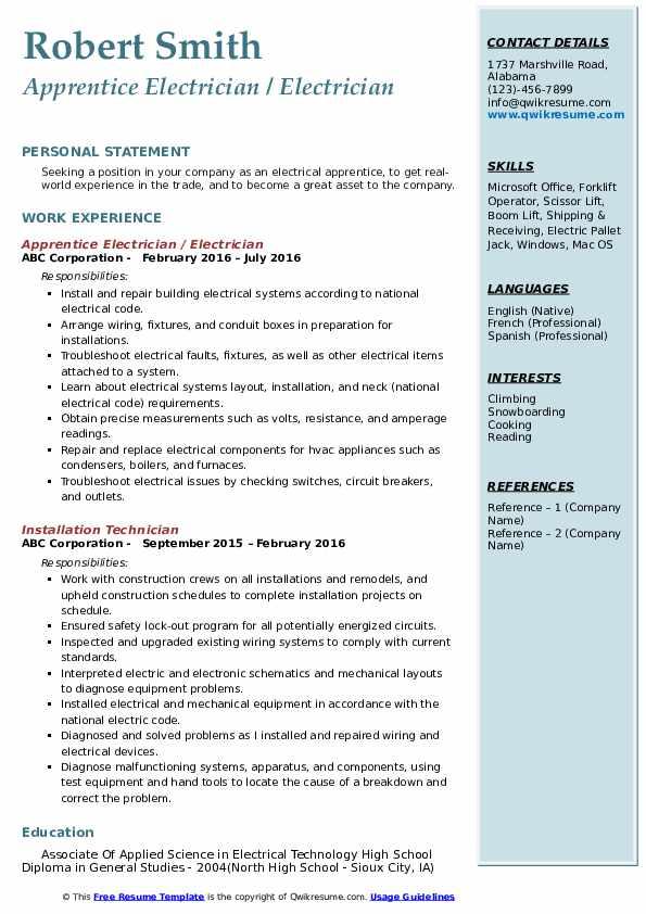 Apprentice Electrician / Electrician Resume Sample