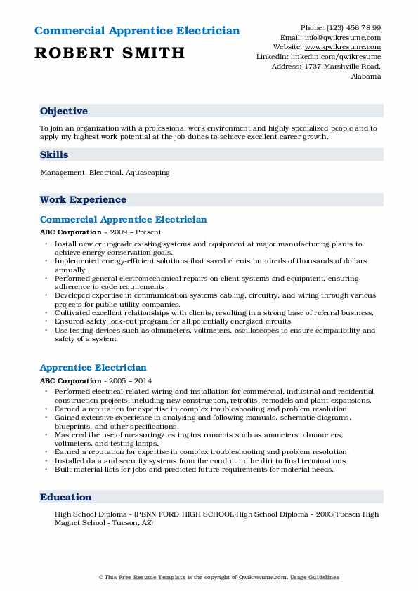 Commercial Apprentice Electrician Resume Sample