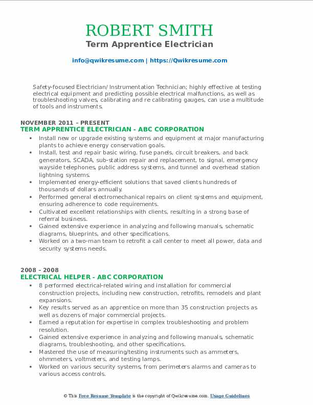 Apprentice Electrician Resume Samples Qwikresume