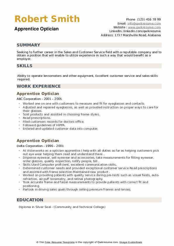 Apprentice Optician Resume example