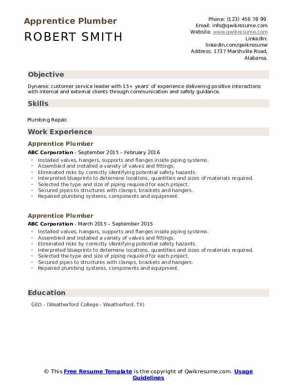 Apprentice Plumber Resume Example