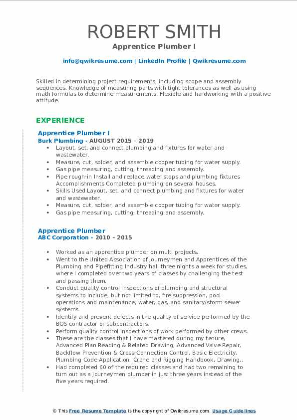 Apprentice Plumber I Resume Format