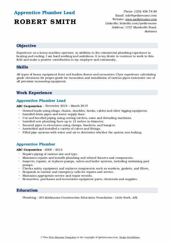 Apprentice Plumber Lead Resume Template