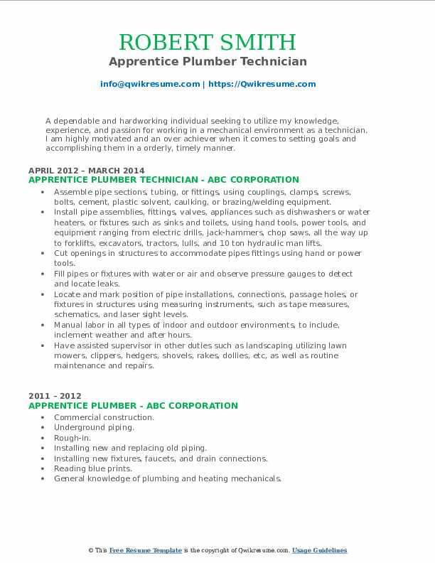 Apprentice Plumber Technician Resume Sample