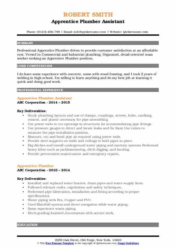 Apprentice Plumber Assistant Resume Format