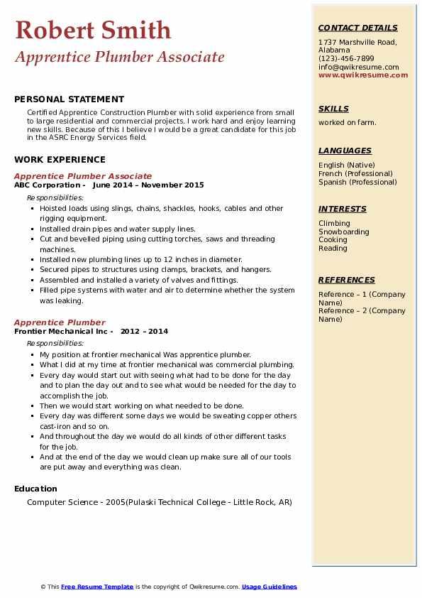 Apprentice Plumber Associate Resume Model