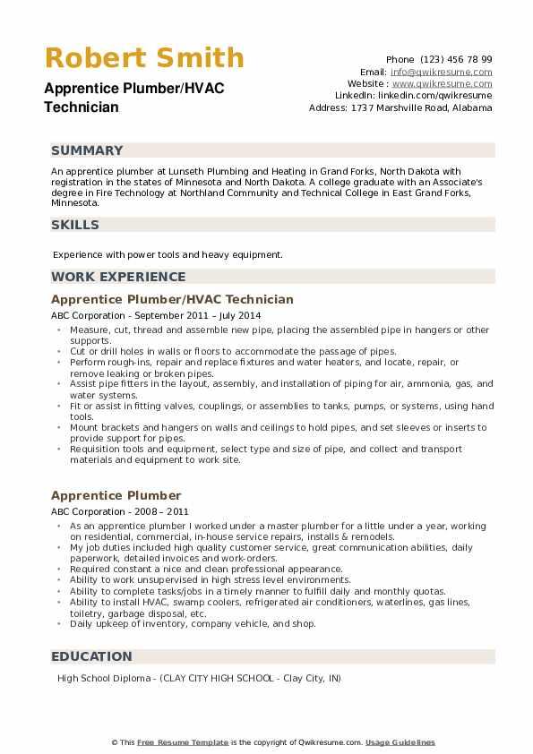 Apprentice Plumber/HVAC Technician Resume Example