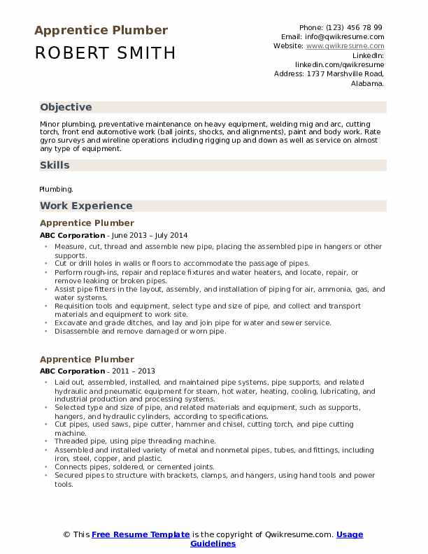 Apprentice Plumber Resume Samples