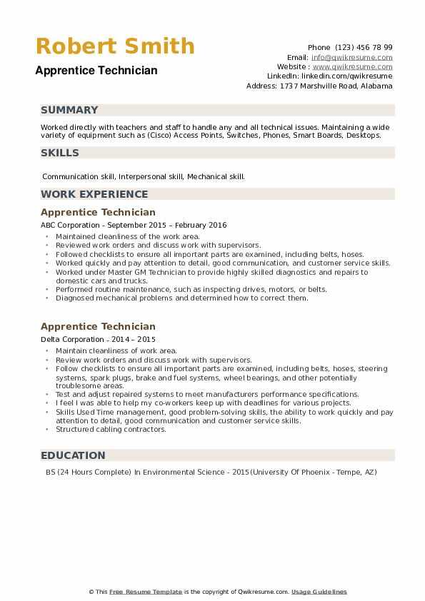 Apprentice Technician Resume example