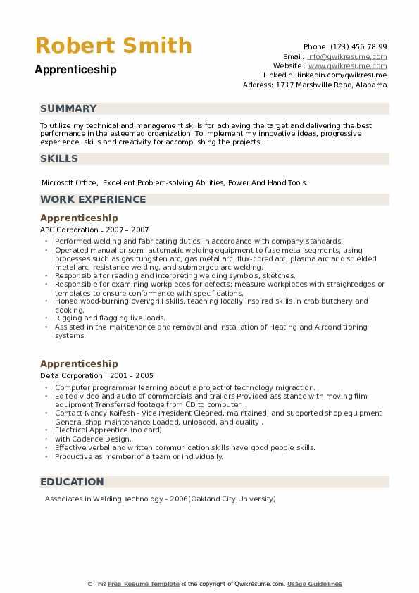 Apprenticeship Resume example
