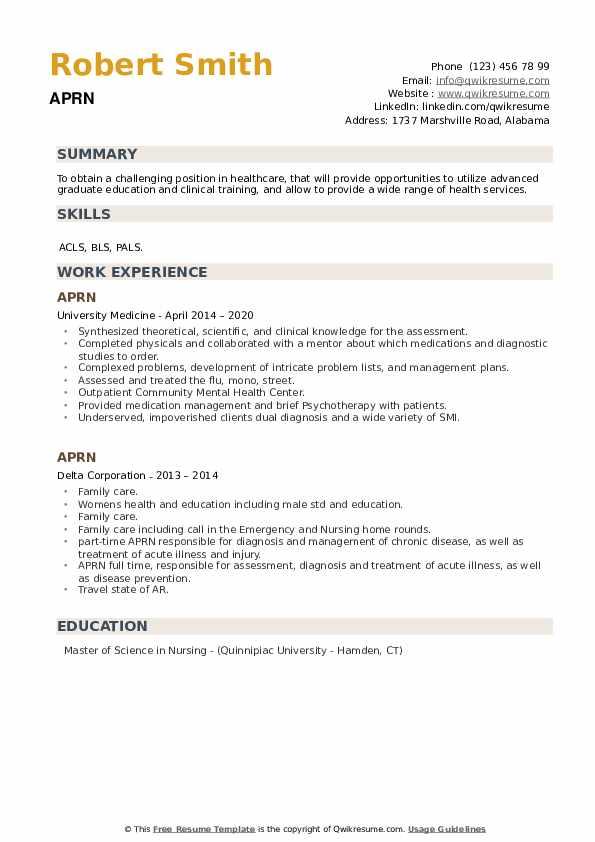 APRN Resume example