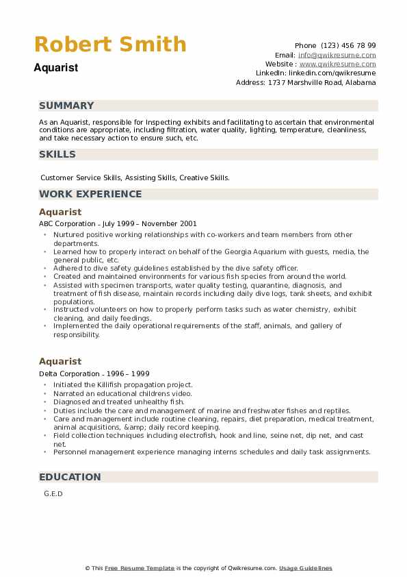 Aquarist Resume example