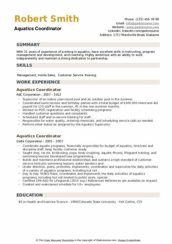 Aquatics Coordinator Resume example