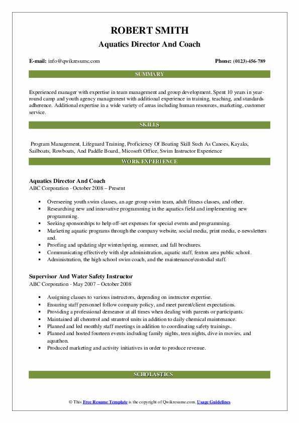Aquatics Director And Coach Resume Model