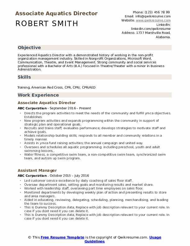 Associate Aquatics Director Resume Model