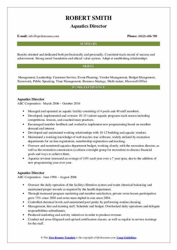 Aquatics Director Resume Format