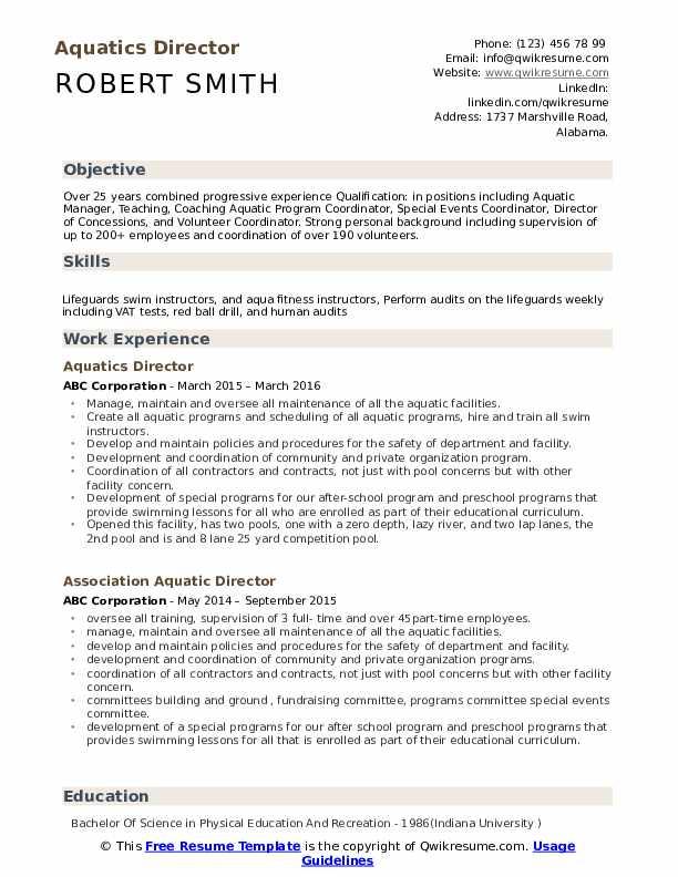 Aquatics Director Resume Model