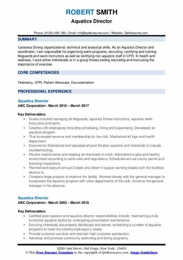 Aquatics Director Resume example