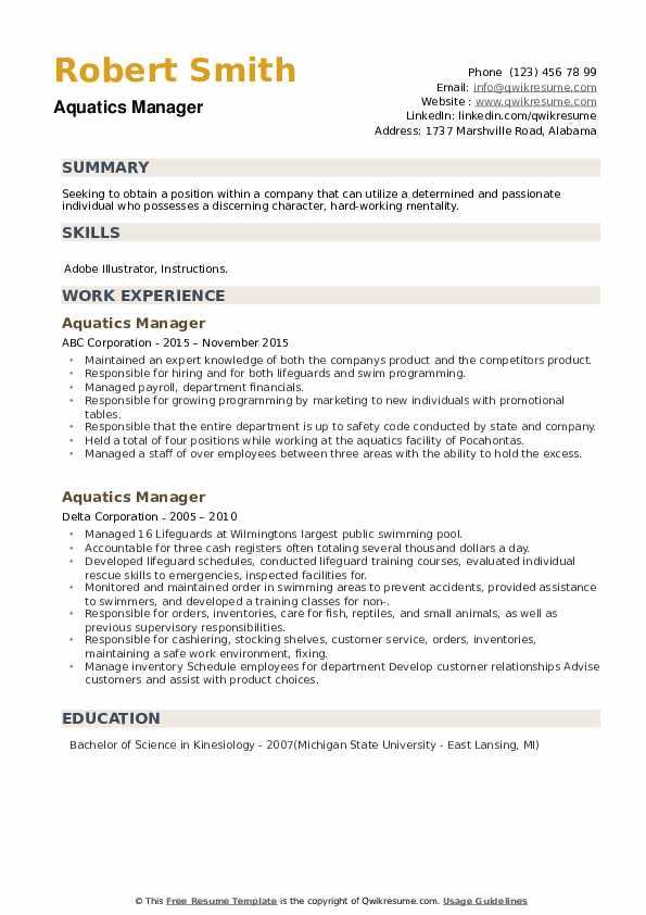 Aquatics Manager Resume example