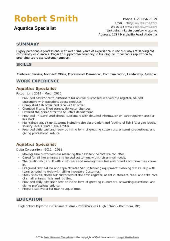 Aquatics Specialist Resume example