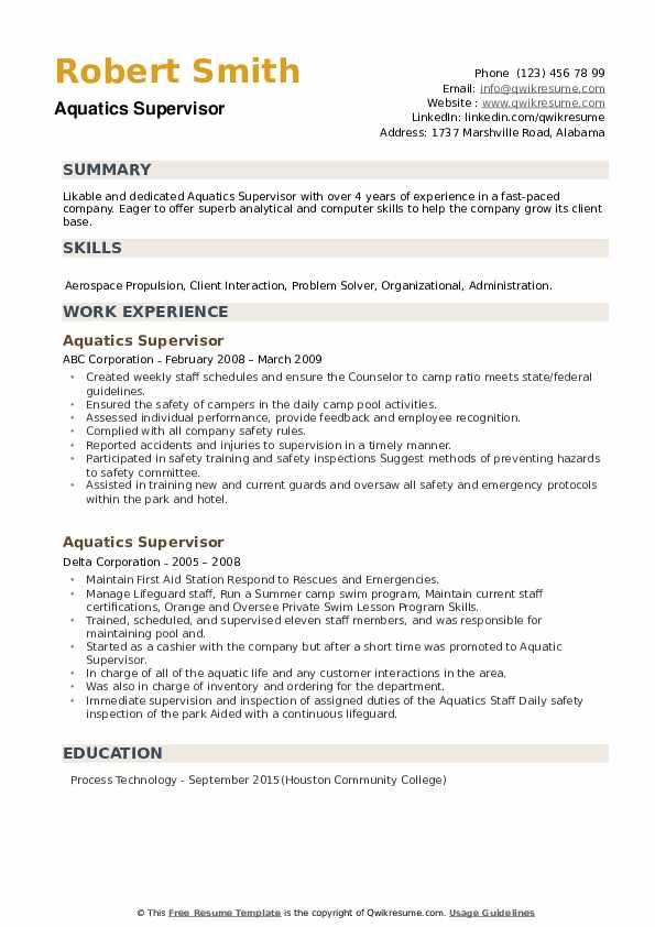 Aquatics Supervisor Resume example