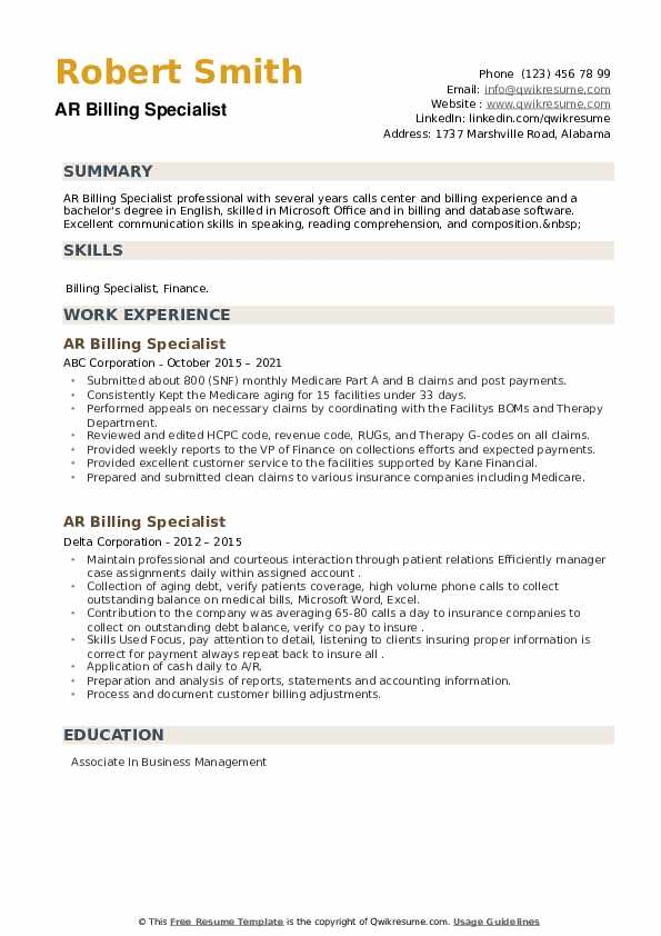 AR Billing Specialist Resume example